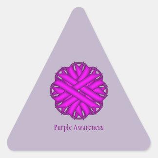 Purple Flower Ribbon by Kenneth Yoncich Triangle Sticker