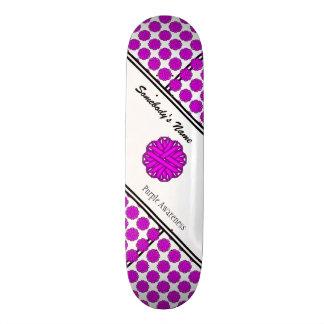 Purple Flower Ribbon Skate Deck