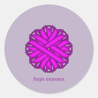 Purple Flower Ribbon Round Sticker