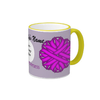 Purple Flower Ribbon Template Ringer Mug