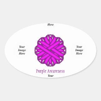 Purple Flower Ribbon Template Oval Sticker