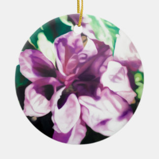 Purple Flower Round Ceramic Decoration