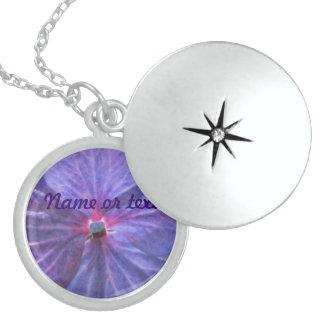 Purple Flower Round Locket Necklace