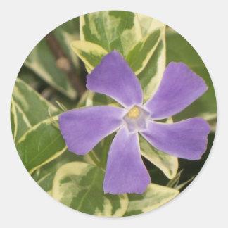 Purple Flower Round Sticker