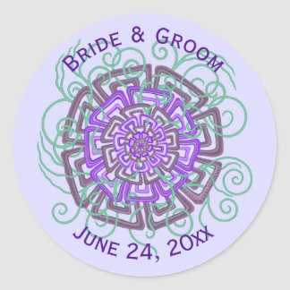 Purple Flower Rustic Abstract Floral Wedding Classic Round Sticker