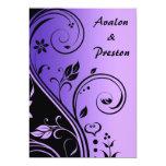 Purple Flower Scrollwork Wedding Invitation