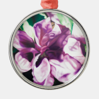 Purple Flower Silver-Colored Round Decoration