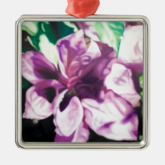 Purple Flower Silver-Colored Square Decoration