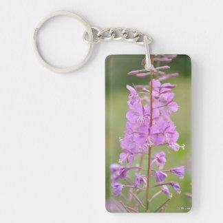 Purple Flower Single-Sided Rectangular Acrylic Key Ring