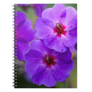 Purple flower spiral note books