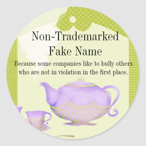 Purple flower teapot and teacups gift tag sticker
