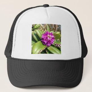 Purple flower trucker hat