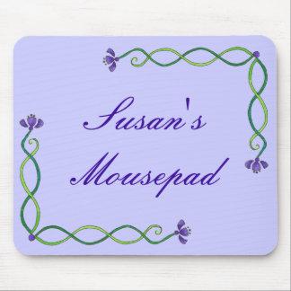 Purple Flower Vine Mouse Pad