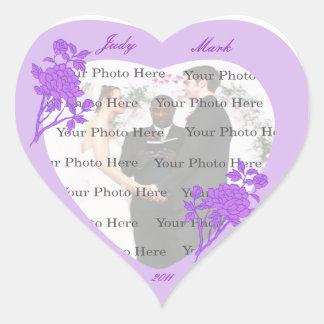 Purple Flower Wedding Heart Stickers