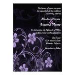 Purple flower wedding invitation no txt
