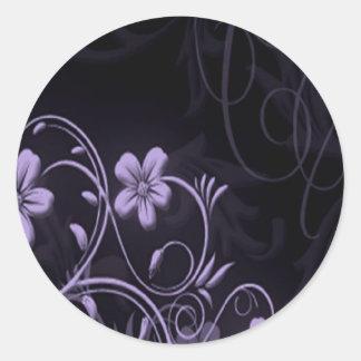 Purple flower wedding invitation no txt round sticker