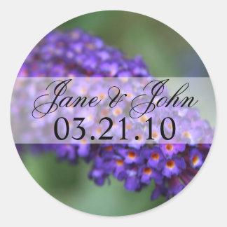 Purple Flower Wedding Round Sticker