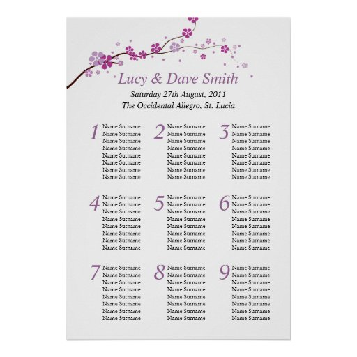 Purple Flower Wedding Table Seating Plan Posters