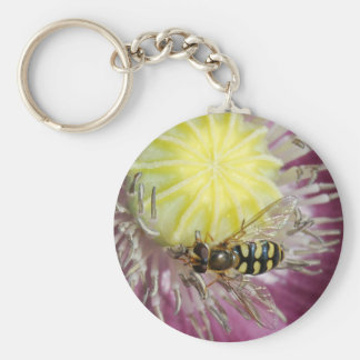 Purple Flower with Insect Keychain
