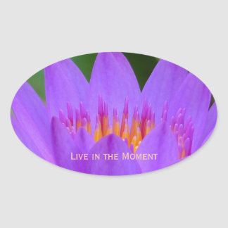 Purple Flower with Life Quote Oval Sticker
