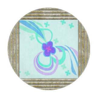Purple Flower With Ribbons Cutting Board