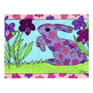 Purple Flowered Bunny Postcard