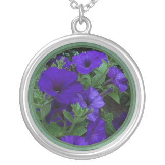Purple flowers 1 round pendant necklace