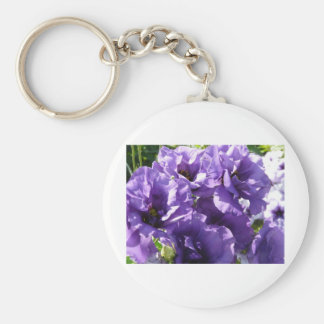 purple flowers 2 basic round button key ring