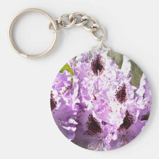 Purple Flowers 3 Basic Round Button Key Ring