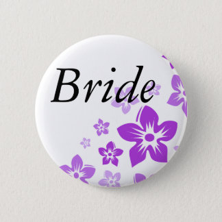 purple flowers 6 cm round badge