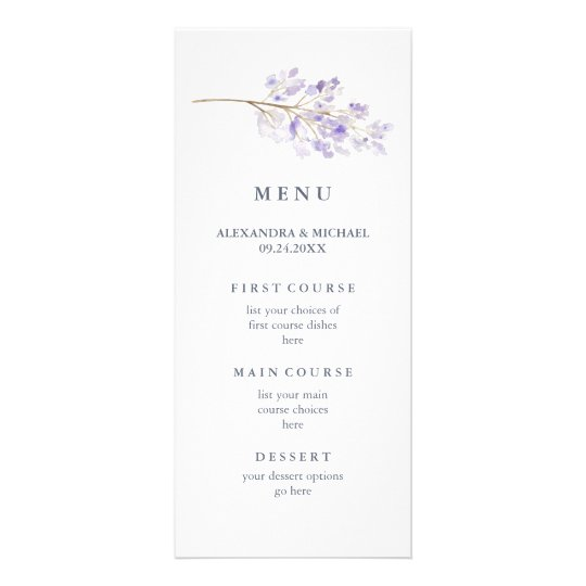 Purple Flowers and Branch Watercolor Wedding Menu