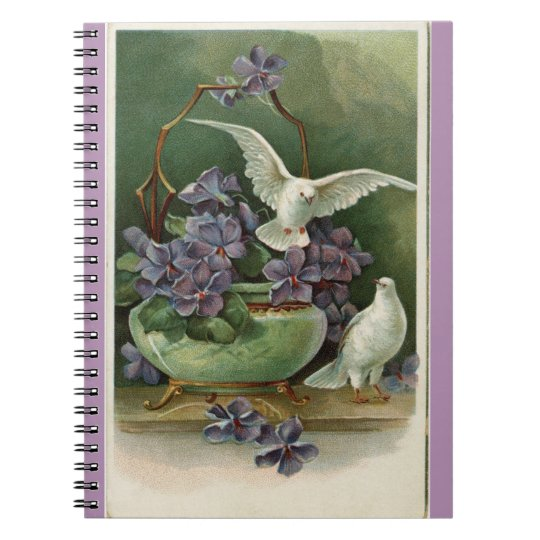 Purple Flowers and Doves Spiral Notebook