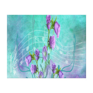 Purple Flowers and Musical Notes Canvas Prints