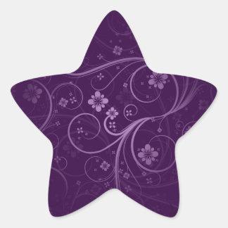 Purple flowers and swirls gift star sticker