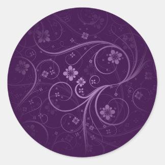 Purple flowers and swirls gift round sticker