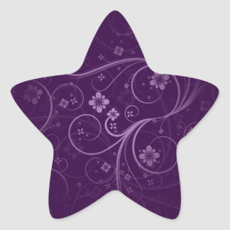 Purple flowers and swirls gift star stickers