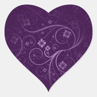 Purple flowers and swirls gift stickers