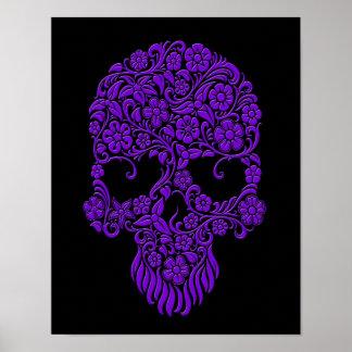 Purple Flowers and Vines Skull Design on Black Print