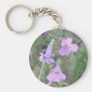 Purple Flowers Basic Round Button Key Ring