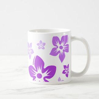 purple flowers basic white mug