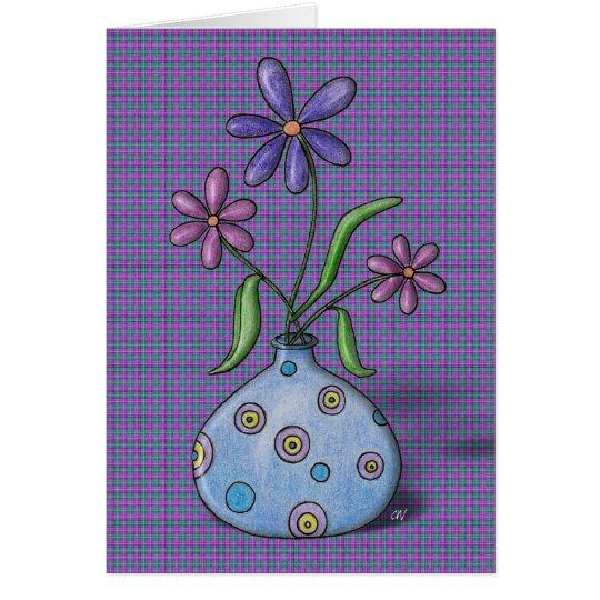 'Purple Flowers' Birthday Card