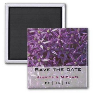 Purple Flowers Bloom Wedding Save the Date Magnet