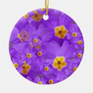 Purple Flowers Blossom Circle Ornament