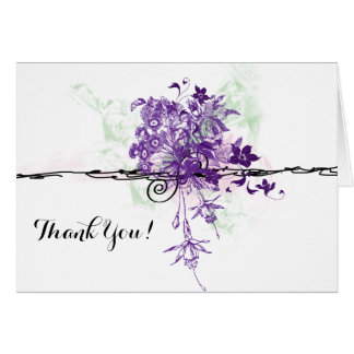 Purple Flowers Bouquet Illustration, Thank You Note Card