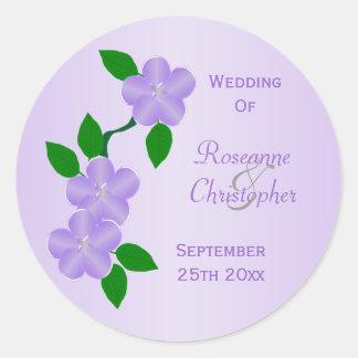 Purple Flowers Bride And Groom Wedding Round Sticker