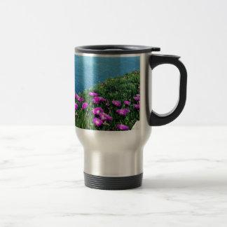 Purple flowers by the sea coffee mugs