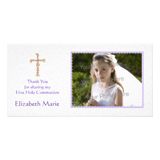 Purple Flowers, Cross, Religious Photo Card