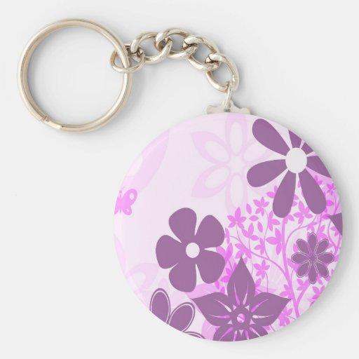 Purple Flowers Daisy Floral Photo Design Keychains