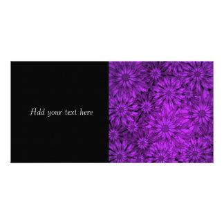 Purple Flowers Digital Art Personalized Photo Card