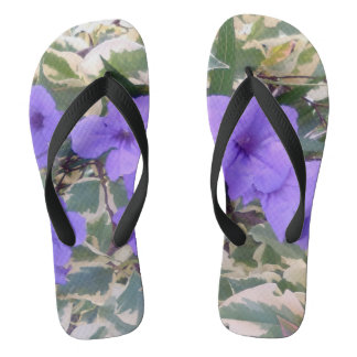 PURPLE FLOWERS FLIP FLOPS